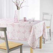 Charme & Douceur - Cdaffaires Nappe rectangle 150 x 240 cm fils coupes imprime anais Rose