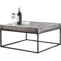 comforium table basse bois massif manguier coloris gris antique 80x80cm