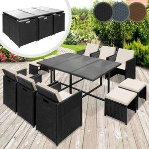 Miadomodo - Salon de jardin de 11 pieces en 3 couleurs gris - pas ...
