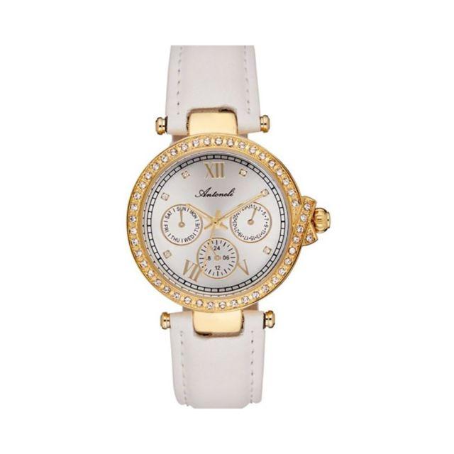 Antoneli - Montre Femme Cadran 34mm En Leather Blanc Et Bracelet Blanc En Acier Al0519-05