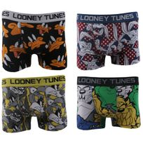 Looney Tunes - Boxers Homme Lot de 4 Couleur - Blanc/Noir/Gris, Taille - L