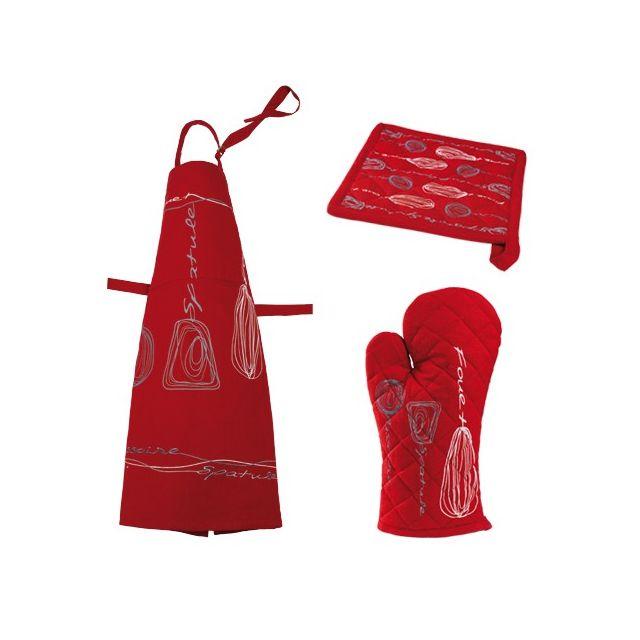 Winkler Tablier, gant et manique - coton - rouge