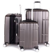 Univers Decor - Ensemble de 3 valises rigide 8 roues + porte gobelet Lys