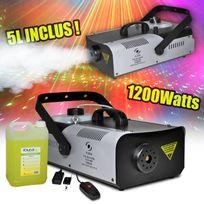 Flash - Machine à fumée 1200W capacité 2L + télécommandes et étrier + 5L de liquide Flm1200