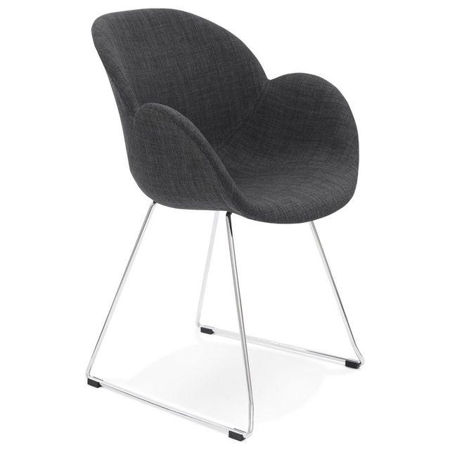 Alterego Chaise design 'JUMBO' grise foncée en tissu