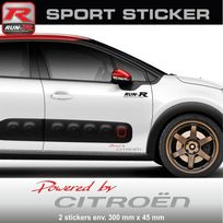Run-R Stickers - Pw03 Ra - Sticker Powered by Citroen - Rouge Argent - pour C1 C2 C3 Ds3 C4 Ds4 Saxo aufkleber adesivi - Adnauto
