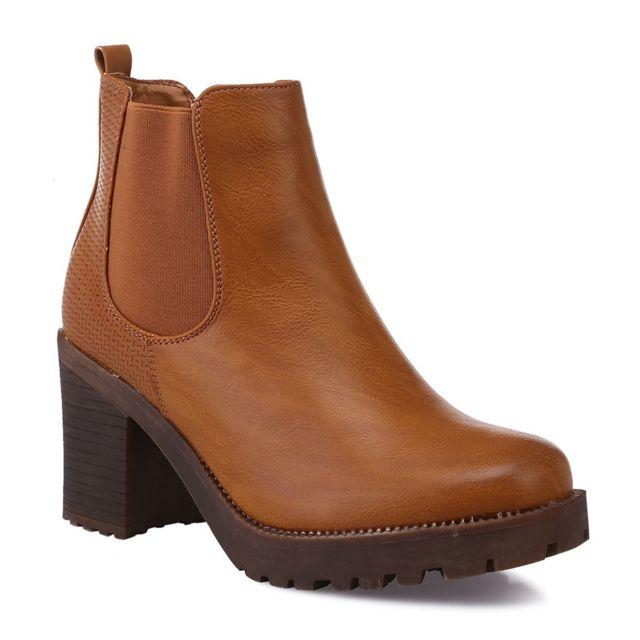 bede2d62489a Lamodeuse - Chelsea boots camel crantées à talon - pas cher Achat ...