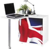 Bonareva - Bureau informatique - Gain de place - London - Drapeau anglais - Blanc