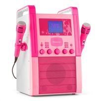 AUNA - KA8P-V2 PK Chaîne karaoké Lecteur CD AUX 2 micros -rose