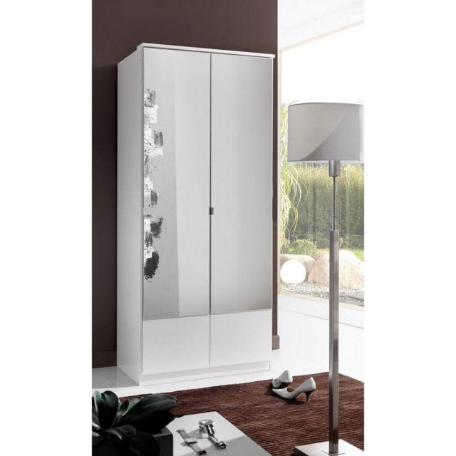 Inside 75 Armoire penderie Dingle 2 portes miroirs largeur 91 blanche