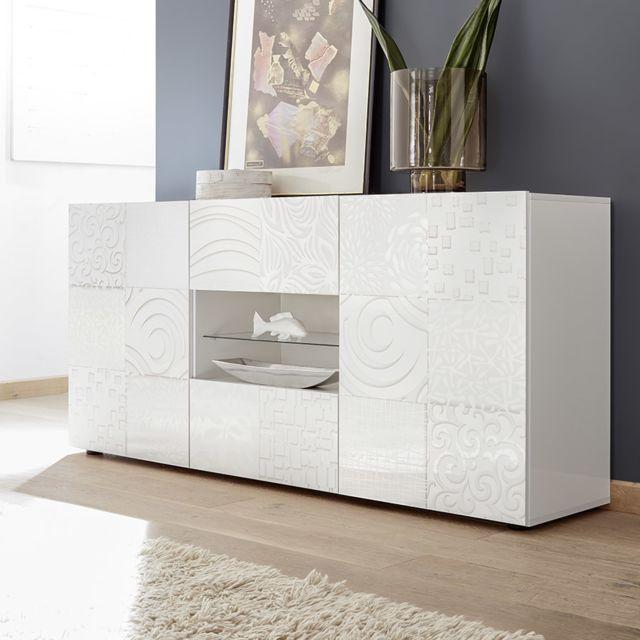 Kasalinea Buffet 180 cm blanc laqué design Nerina