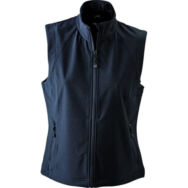 sélection premium 5f5d5 f9a0e Gilet sans manches softshell coupe-vent imperméable - Jn1023 - noir - femme