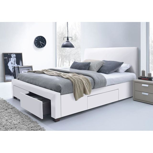 lit simili cuir blanc avec t te de lit seattle 160 x 200. Black Bedroom Furniture Sets. Home Design Ideas