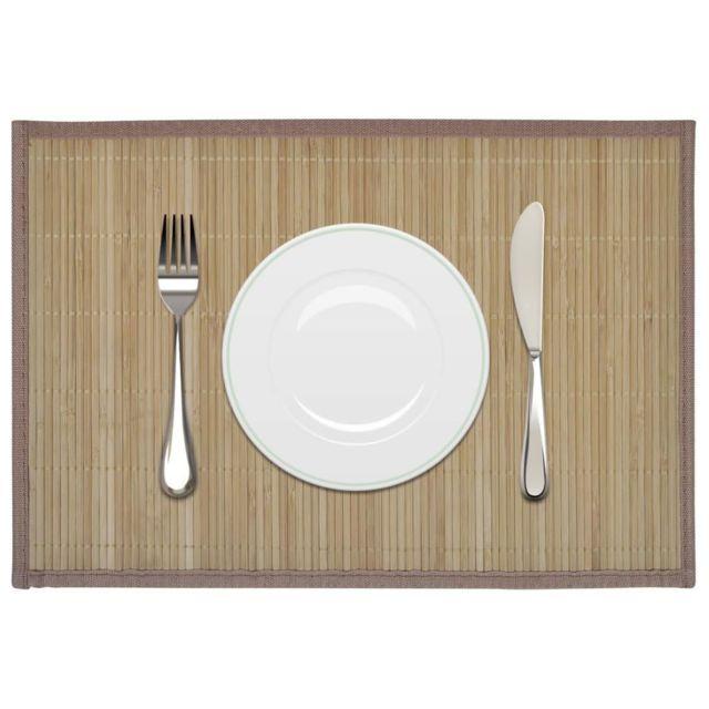 Superbe Linge de table ensemble Kinshasa 6 Napperons en bambou 30 x 45 cm Brun