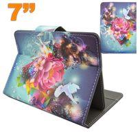 Yonis - Housse universelle tablette 7 pouces support ajustable fleurs colombe