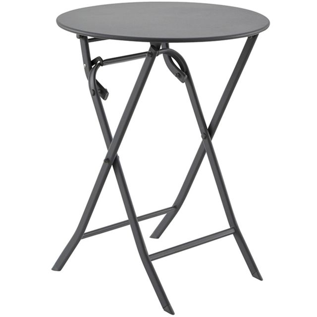 Pegane table de terrasse en acier ronde pliante chlo ardoise 2 places dim 60 x 71 cm for Table de terrasse pliante