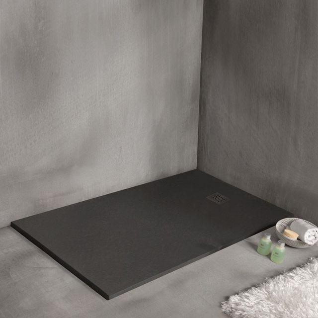 Receveur De Douche En Resine Minerale Extra Plat Strato Noir 90 X 120 Cm
