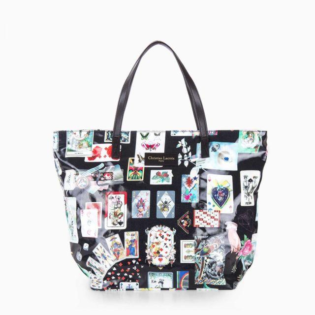 e664499ad1 Christian Lacroix - Grand sac cabas en toile imprimé cartes femme - pas  cher Achat / Vente Sacs à main - RueDuCommerce