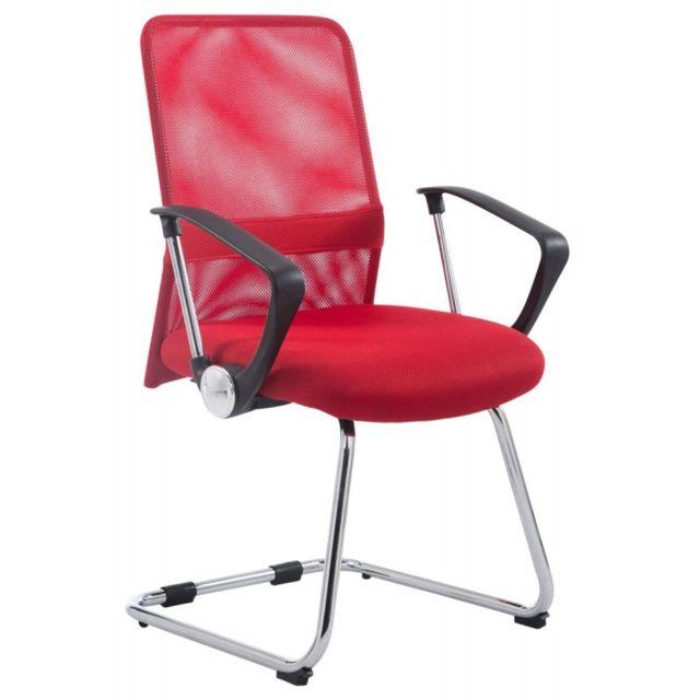 Chaise fauteuil de bureau avec accoudoirs en maille rouge sans roulette Bur10192