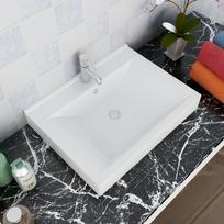 Vidaxl - Vasque à poser en céramique Rectangulaire Blanche 60 x 46 cm