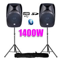 """Bm Sonic - Enceinte amplifiée 12""""/30cm 1400W Usb/BT + pieds"""