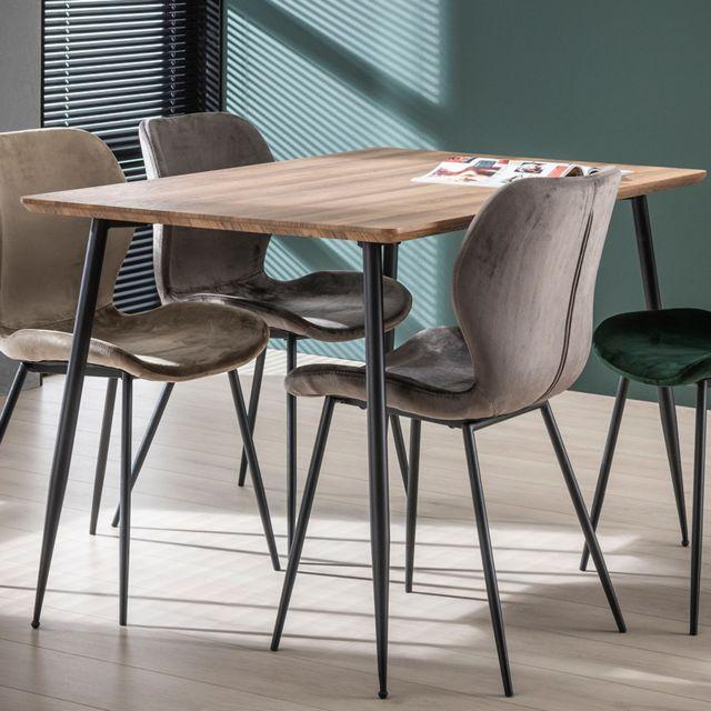 Nouvomeuble Petite table 120 cm couleur chêne et métal Joan