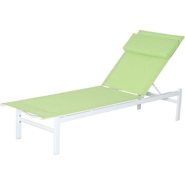 Carrefour bain de soleil plat vitamine acier et textilène vert pas cher achat vente transats chaises longues rueducommerce