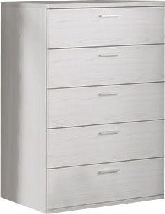Comforium Commode haute à 5 tiroirs 86x44 cm coloris chêne