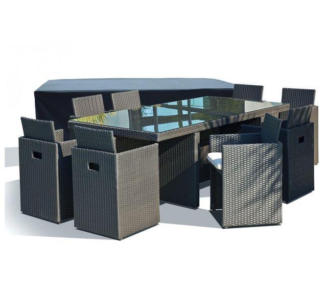 Salon de jardin avec 8 fauteuils encastrables noirs et housse de protection