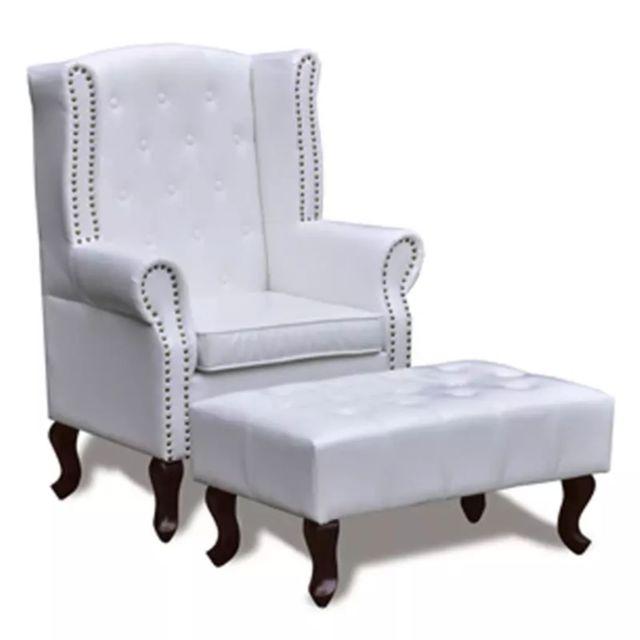 Helloshop26 Fauteuil chaise siège lounge design club sofa salon chesterfield avec ottoman assorti blanc 1102298