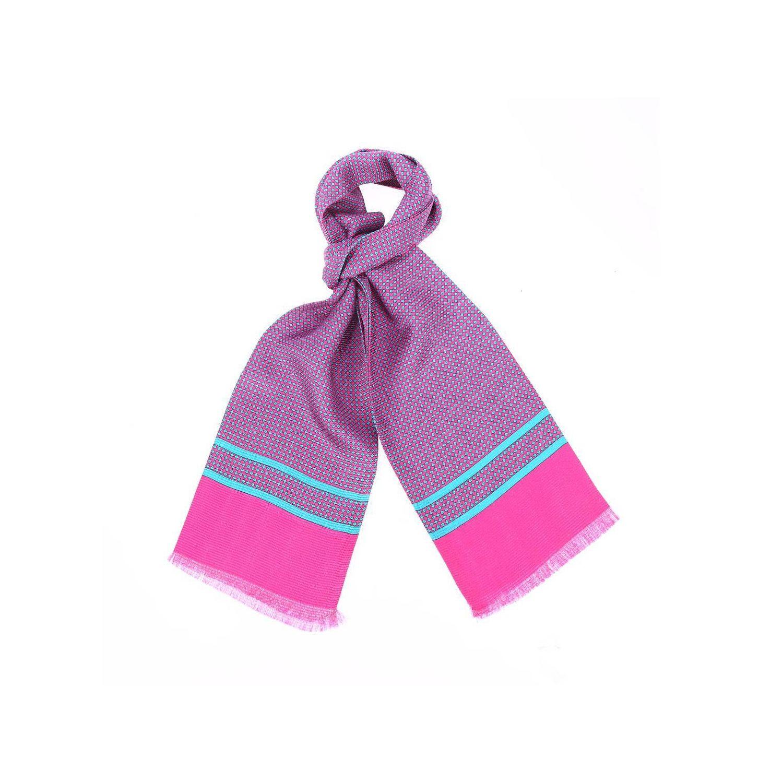 16d48a614319 TOUCHE FINALE- Echarpe en soie fuchsia à motifs losanges bleus - Rose