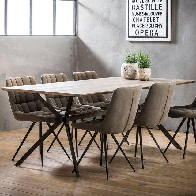 Nouvomeuble Table 200 cm couleur chêne clair Sanchez
