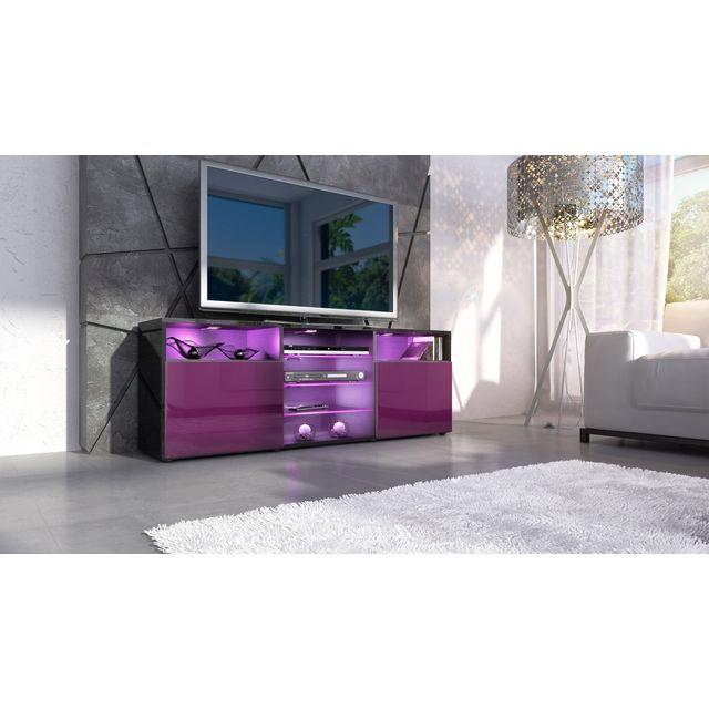 Mpc Meuble design tv noir et mûre façade laquée sans led