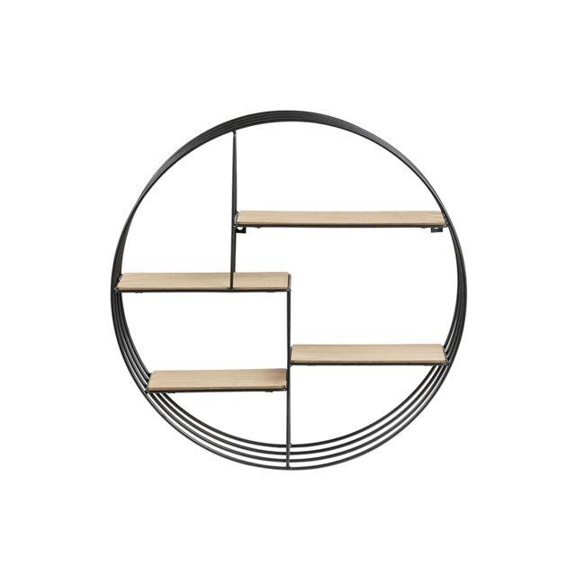 Miliboo Etagère murale design ronde bois et métal Enso