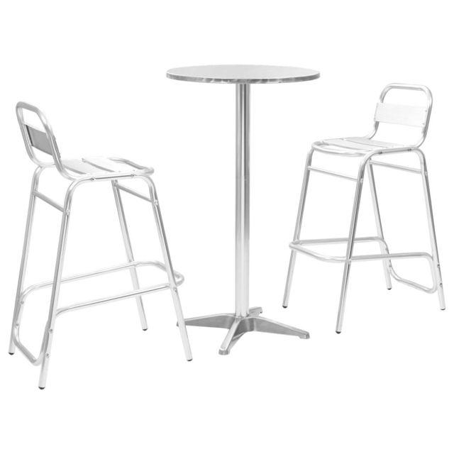 Vidaxl Ensemble de bar 3 pcs avec table ronde Argenté Aluminium