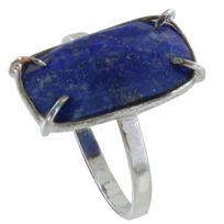 Les Poulettes Bijoux - Bague Argent Rectangle de Lapis Lazuli Facetté - taille 52