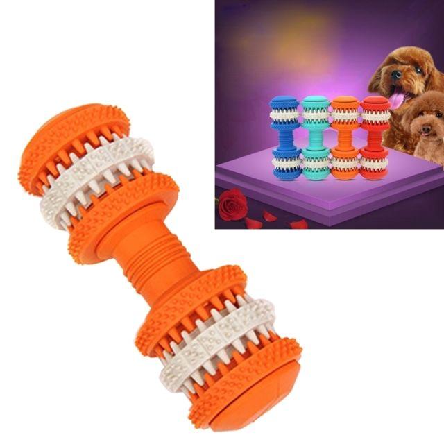 Wewoo - Jouet pour Animaux orange chien de compagnie Nettoyage des dents Chewing Haltères Forme Jouets en caoutchouc souple non toxique, grande taille, longueur: 15cm Noir