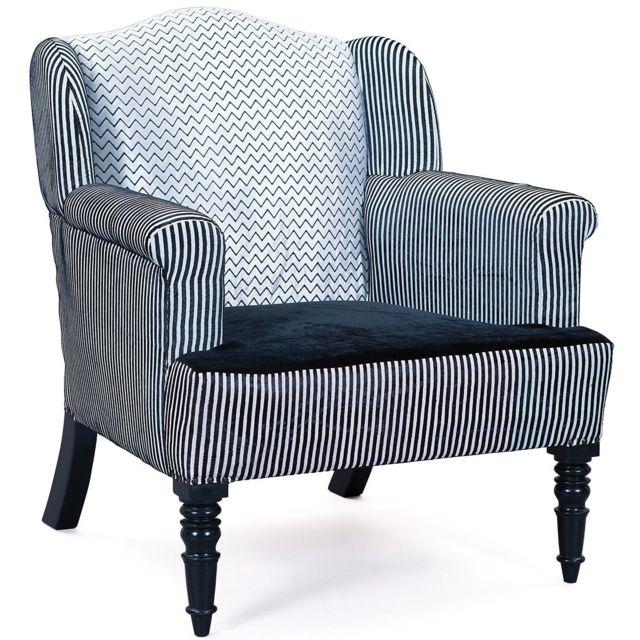 Comforium Fauteuil design en tissu coloris gris noir et argenté