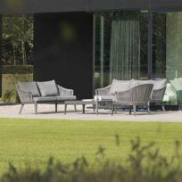 Salon jardin alu composite marron - Achat Salon jardin alu ...