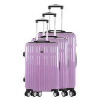 France Bag - Set de 3 Valises Rigide Abs & Polycarbonate 4 Roues 55-65-75cm Prune Clair et Carbone