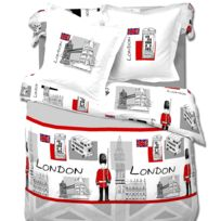 Dourev - Housse de couette 220x240 + 2 taies London Bridge 100%coton