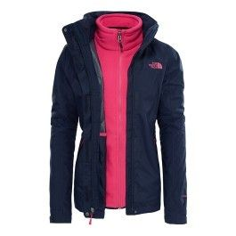 The north face - Veste The North Face Evolution Ii Triclimate bleu marine  rose femme f65e6c23f8d9
