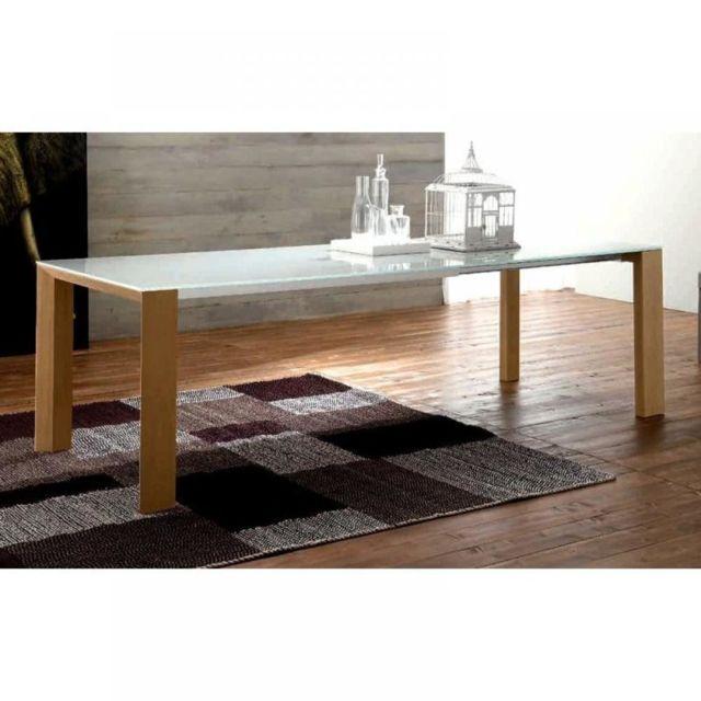 Inside 75 Equinox Table repas extensible en verre sérigraphié piétement bois naturel