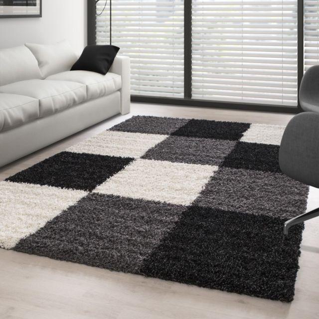 ayyildiz tapis tapis shaggy pile longue carreaux noir noir blanc gris pas cher achat vente tapis rueducommerce - Tapis Noir Et Blanc