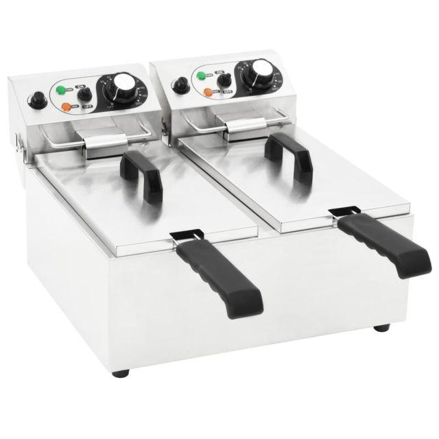 Contemporain Électroménager de cuisine edition Suva Friteuse double électrique Acier inoxydable 12 L 4000 W