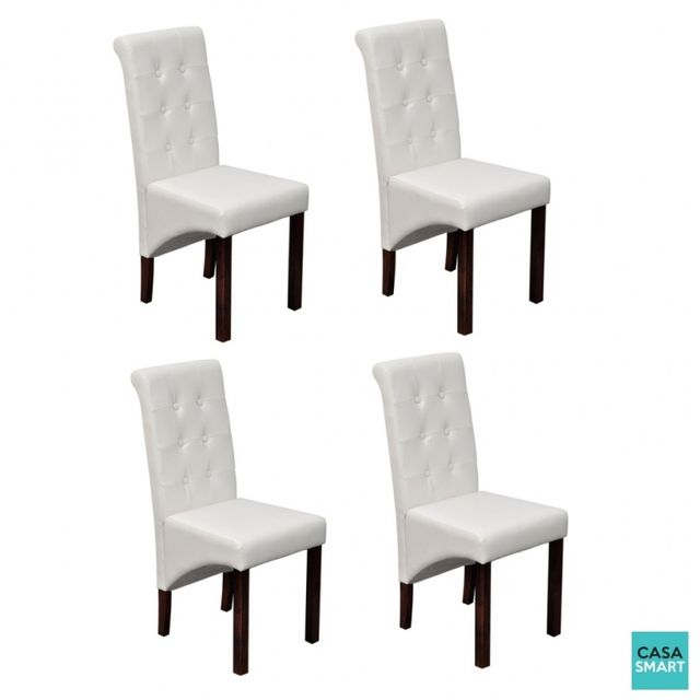 Casasmart Lot de 4 chaises Aslinn en simili cuir blanc