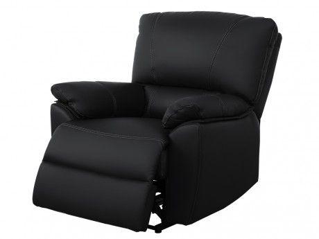 VENTE-UNIQUE Fauteuil relax électrique en cuir MARCIS - Noir