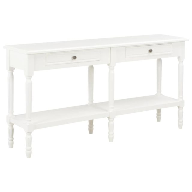 Esthetique Armoires et meubles de rangement collection Paramaribo Buffet Blanc 150 x 35 x 77 cm Bois massif