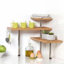 Secret De Gourmet - Etagère d'angle en bambou et inox Cuisine Salle de bain ou sur un bureau Idéal pour gagner de la place