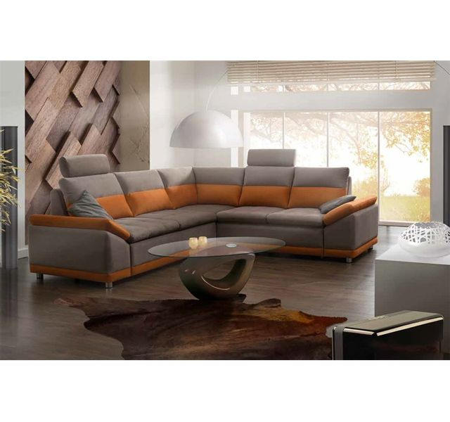5b238f09bfa51 Chloe Design - Canapé d angle convertible design Marcello - Angle droit -  orange et